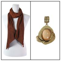 Scarves - Magic Slinky w/ Pendant - Brown w/ Pendant #389