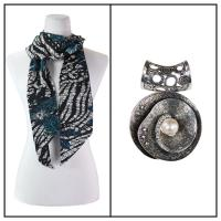 Scarves - Magic Slinky w/ Pendant - Zebra Floral - Teal w/ Pendant #001