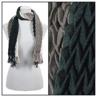 Scarves - Pleated Ombre 686 - Black-Grey