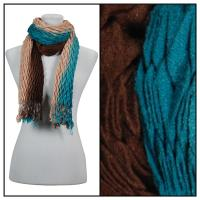 Scarves - Pleated Ombre 686 - Teal-Brown
