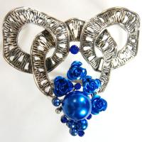 Scarf to Belt Accessory - 101 - Silver-Blue