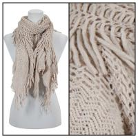 Scarves - Crochet Fishnet Tubed 4083 - Beige