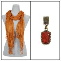 Scarves - Cotton/Silk Blend 100 w/ Pendant - Caramel w/ Pendant #391