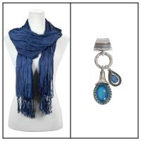 Scarves - Cotton/Silk Blend 100 w/ Pendant - Navy w/ Pendant #397