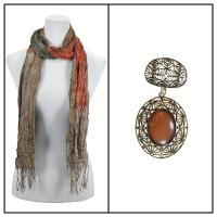 Scarves - Crinkled Watercolors 22 w/ Pendant - Granite-Teal-Orange w/ Pendant #126