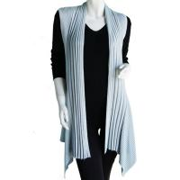 Magic Convertible Long Ribbed Sweater Vest - Silver