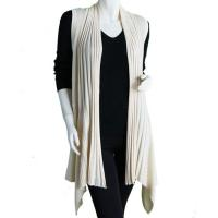 Magic Convertible Long Ribbed Sweater Vest - Beige