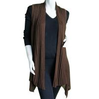 Magic Convertible Long Ribbed Sweater Vest - Brown