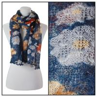 Scarves - Crochet Flower 3097 - Blue