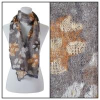 Scarves - Crochet Flower 3097 - Grey