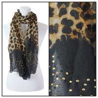 Scarves - Studded Leopard 3172 - Black