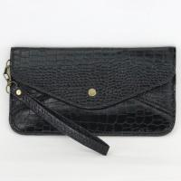 Wristlet - Crocodile - Black