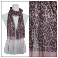 Scarves - Sequined Leopard 3139 - Pink