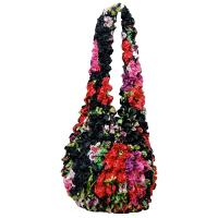 Popcorn Bags - Pink-Red Floral on Black- Black