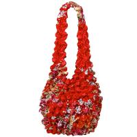 Popcorn Bags - Raspberry Floral on Red- Scarlet