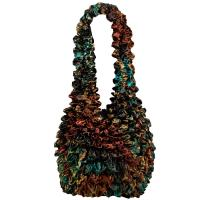 Popcorn Bags - Abstract Lilies Copper-Teal - Dark Brown