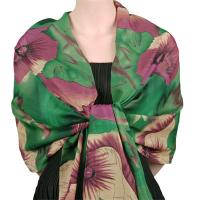 Georgette Shawls -  Poppies - Green