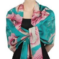 Georgette Shawls -  Poppies - Aqua