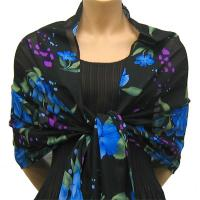 Georgette Shawls -  Black-Blue Floral