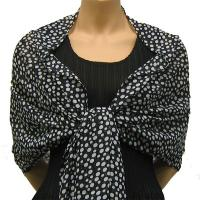 Georgette Shawls -  Polka Dot Black-White