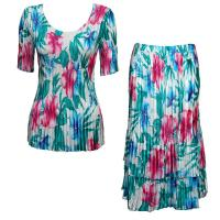 Sets Satin Mini Pleat - Half Sleeve V-Neck - Bright Bouquet