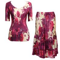Sets Satin Mini Pleat - Half Sleeve V-Neck - Rose Floral-Berry