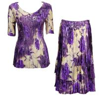 Sets Satin Mini Pleat - Half Sleeve V-Neck - Rose Floral-Purple