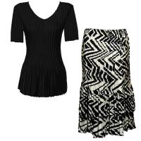 Sets Satin Mini Pleat - Half Sleeve V-Neck - Solid Black - Block Print Black-Ivory Skirt