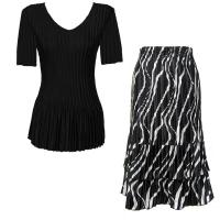 Sets Satin Mini Pleat - Half Sleeve V-Neck - Solid Black - Ribbon Black-White Skirt