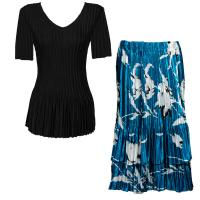 Sets Satin Mini Pleat - Half Sleeve V-Neck - Solid Black - White Tulips on Teal Skirt