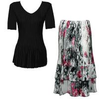 Sets Satin Mini Pleat - Half Sleeve V-Neck - Solid Black - White-Black-Pink Floral Skirt
