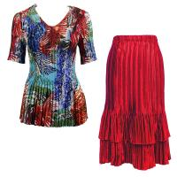 Sets Satin Mini Pleat - Half Sleeve V-Neck - Abstract Blue-Red - Red Skirt
