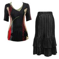 Sets Satin Mini Pleat - Half Sleeve V-Neck - Art Deco Olive-Red - Black Skirt