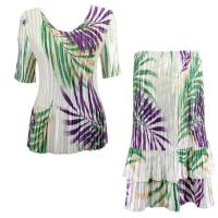 Sets Satin Mini Pleat - Half Sleeve V-Neck - Palm Leaf Green-Purple