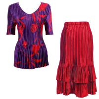 Sets Satin Mini Pleat - Half Sleeve V-Neck - Red Tulips on Purple - Red Skirt