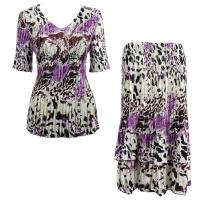 Sets Satin Mini Pleat - Half Sleeve V-Neck - Reptile Floral-Purple