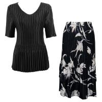 Sets Satin Mini Pleat - Half Sleeve V-Neck - Solid Black - White Tulips on Black Skirt