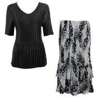 Sets Satin Mini Pleat - Half Sleeve V-Neck - Solid Black - White-Black Swirl Dots