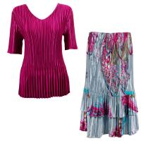 Sets Satin Mini Pleat - Half Sleeve V-Neck - Solid Magenta - Red Swirl on Silver Skirt