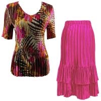 Sets Satin Mini Pleat - Half Sleeve V-Neck - Jungle Floral Pink - Magenta Skirt