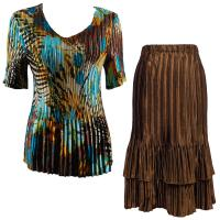 Sets Satin Mini Pleat - Half Sleeve V-Neck - Jungle Floral Turquoise - Brown Skirt