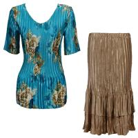 Sets Satin Mini Pleat - Half Sleeve V-Neck - Taupe on Teal - Light Gold Skirt