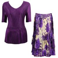 Sets Satin Mini Pleat - Half Sleeve V-Neck - Solid Purple - Rose Floral-Purple Skirt