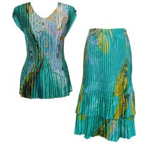 Sets Satin Mini Pleat - Cap Sleeve V Neck/Skirt - Swirl Aqua Blue