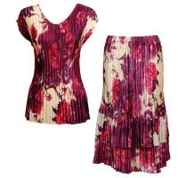 Sets Satin Mini Pleat - Cap Sleeve V Neck/Skirt - Rose Floral-Berry