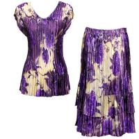 Sets Satin Mini Pleat - Cap Sleeve V Neck/Skirt - Rose Floral-Purple
