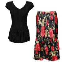 Sets Satin Mini Pleat - Cap Sleeve V Neck/Skirt - Solid Black - Coral Blossoms on Black Skirt