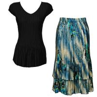 Sets Satin Mini Pleat - Cap Sleeve V Neck/Skirt - Solid Black - Marble Floral-Blue Skirt