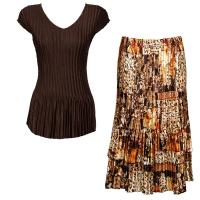 Sets Satin Mini Pleat - Cap Sleeve V Neck/Skirt - Solid Dark Brown - Multi Animal Floral Skirt