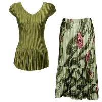 Sets Satin Mini Pleat - Cap Sleeve V Neck/Skirt - Solid Olive - Multi Green Floral Skirt